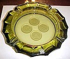 Fostoria olive green Coin glass ashtray large and heavy