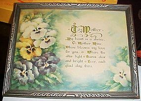 Vintage 1930's framed To Mother poem with pansies