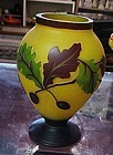 Gorgeous satin cameo glass vase  with acorns oak leaves