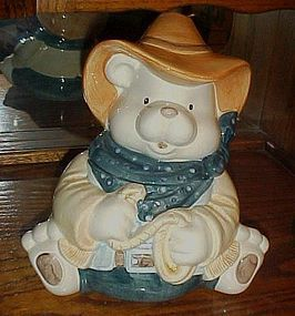 Ceramic Western Cowboy teddy bear cookie jar roping