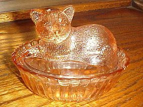 Vintage pink covered candy jar with cat Westmoreland