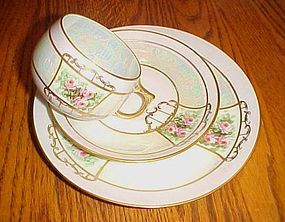 Antique Jaeger  Bavaria cup saucer plate  roses  lustre