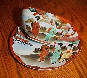 Vintage eggshell Geisha cup and saucer rust and gold