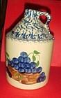 Alpine Pottery wine jug  sponged hand painted grapes