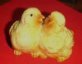 Cute life size ceramic double baby chicks  figurine