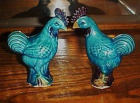 Old pair glazed clay blue chicken figurines China
