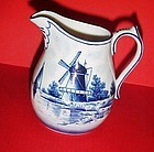Blue Delft windmill scene creamer pitcher Germany