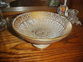 Vintage Stangl Antique gold #4028  compote bowl 8 3/4""