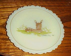 Vintage Fenton satin custard Mothers day plate fawn