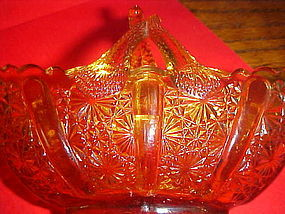 Vintage amber Fenton split handle daisy  button basket