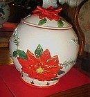 Big round poinsettia cookie jar for Christmas cookies