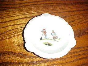 Vintage BWGT ceramic cartoon golf ashtray 1966