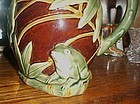 Majolica style frog water pitcher three dimensional
