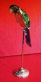 """Beautiful 7"""" crystal faceted colorful parrot on perch"""