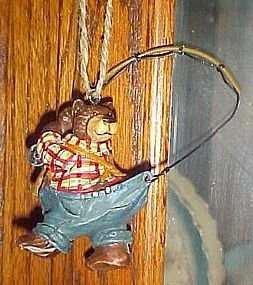 Montana Lifestyles comical fisherman bear ornament