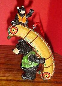 Montana Lifestyles Bears with Indian Canoe ornament