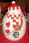 Adorable Snowman with hat scarf and mittens Cookie Jar