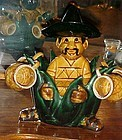 Ceramic Mexican man with Aguave cactus tequila bar set