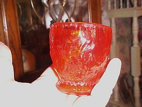 "Morgantown crinkle Gypsy Fire 3"" juice glass  Seneca"