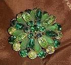 Vintage  multi green's rhinestone pin brooch