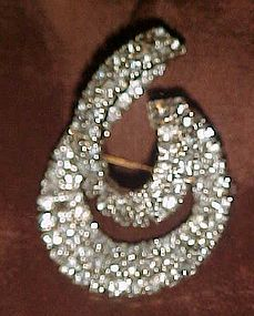 Fabulous vintage abstract 3-D rhinestone brooch