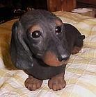 Sandra Brue life like dachshund  figurine sandicast