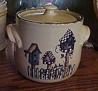 Bird houses stoneware cookie jar by Home and Garden