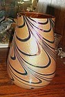 Beautiful pulled feather / ribbon tiffany look vase