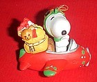 Peanuts Snoopy in airplane Christmas ornament
