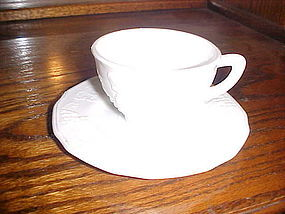 Indiana Glass Harvest milk glass cup and saucer