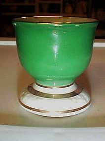 Vintage Winterling Bavaria green egg cup gold trim