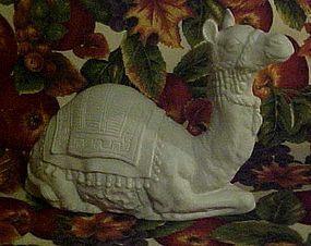 Vintage white bisque porcelain nativity camel figurine
