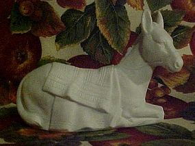 Vintage Avon white bisque porcelain nativity donkey