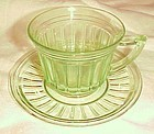 Hazel Atlas New Century green depression glass cup and saucer