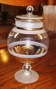 Lovely vintage apothecary candy jar with lid, clear frost and gold