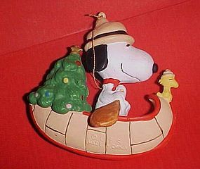 UFS Peanuts Snoopy in a canoe with Woodstock Christmas ornament