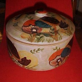 Old Hand Painted mushrooms crock and lid Chico Ca signed