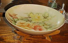 "Large 14 1/2"" hand painted roses serving bowl on wood stand"