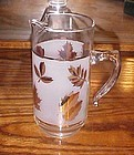 Vintage Libby Golden Foliage / Gold Leaf cocktail pitcher with ice lip