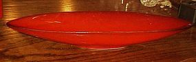 Gorgeous vintage red Calif USA pottery console bowl H-2