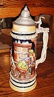 "Vintage Gerz Germany 13 3/8 "" tall beer stein domino payers pub scene"
