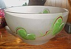 """Vintage Hazel Atlas 10"""" salad bowl frosted w hand painted Ivy leaves"""
