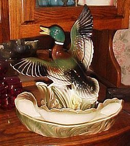 Vintage Lane & Co Mallard duck TV lamp planter light