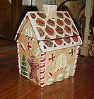 Holly Tree  ceramic Gingerbread House cookie jar