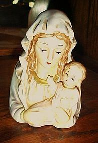 Vintage Napco Madonna and child head vase planter