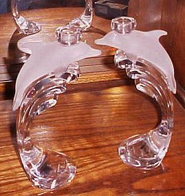 Lenox crystal pair of dolphin and waves single light candle holders