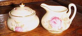 Antique Crown Staffordshire demi creamer and sugar set with roses