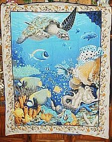 Finished fabric underwater ocean coral reef wall hanging Beach decor