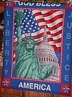 Finished  fabric God Bless America Lady Liberty wall hanging