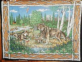 Finished fabric Timber wolves wolf family wall hanging